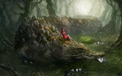 Woman on a swamp crocodile wallpaper