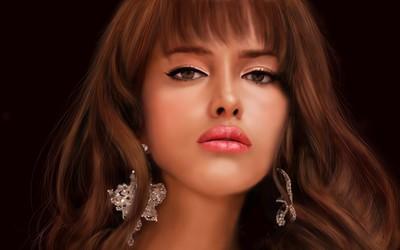Woman wearing diamond earrings wallpaper