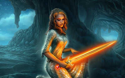 Woman with a glowing sword wallpaper
