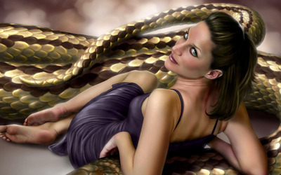 Woman with her anaconda pet wallpaper