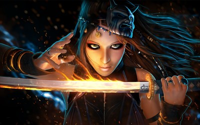 Woman with her flaming sword wallpaper
