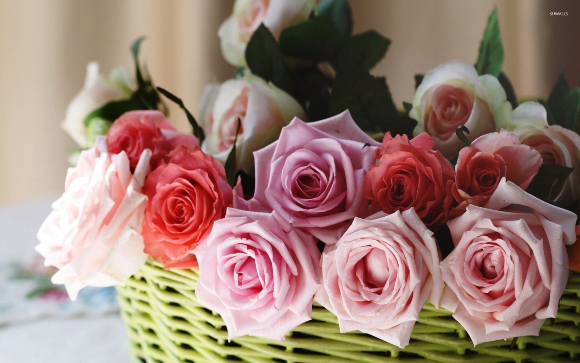 bouquet of roses in a basket wallpaper flower wallpapers