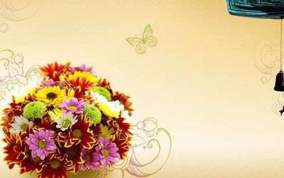 Colorful flowers in the vase wallpaper