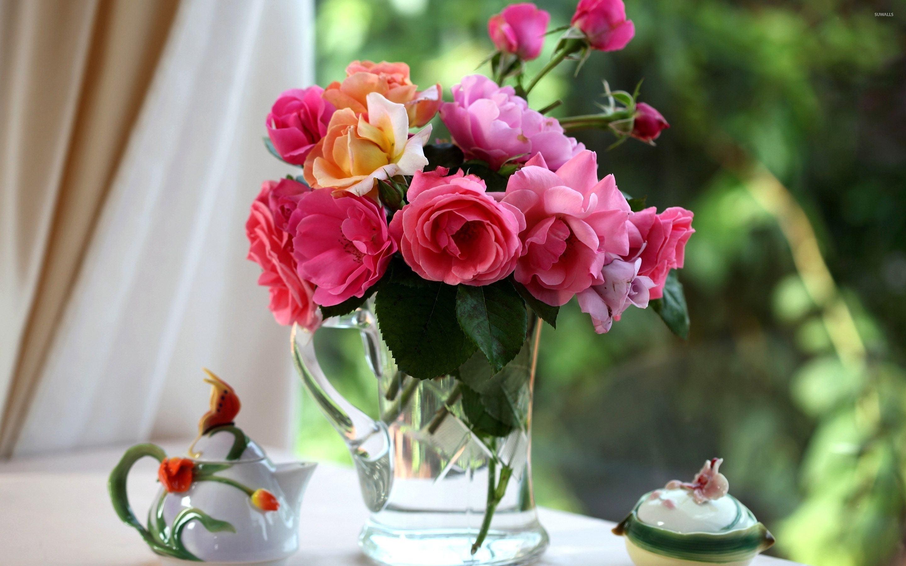 Roses in the vase on the morning tea table wallpaper flower roses in the vase on the morning tea table wallpaper floridaeventfo Choice Image