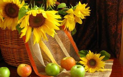 Sunflowers in a basket [2] wallpaper