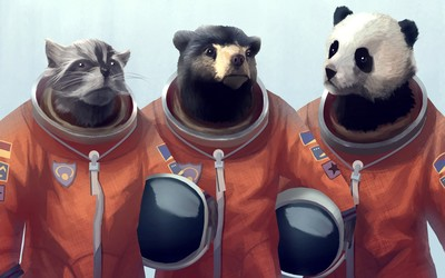 Animal astronauts wallpaper
