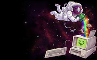 Astronaut gathering nyan cats in a computer wallpaper 1920x1080 jpg