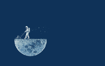 Astronaut mowing the moon wallpaper