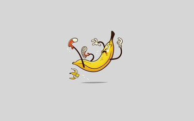Banana slipping on a peal wallpaper