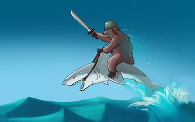Bear riding a shark wallpaper