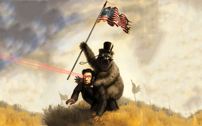 Bear riding Abraham Lincoln with Laser Eyes wallpaper