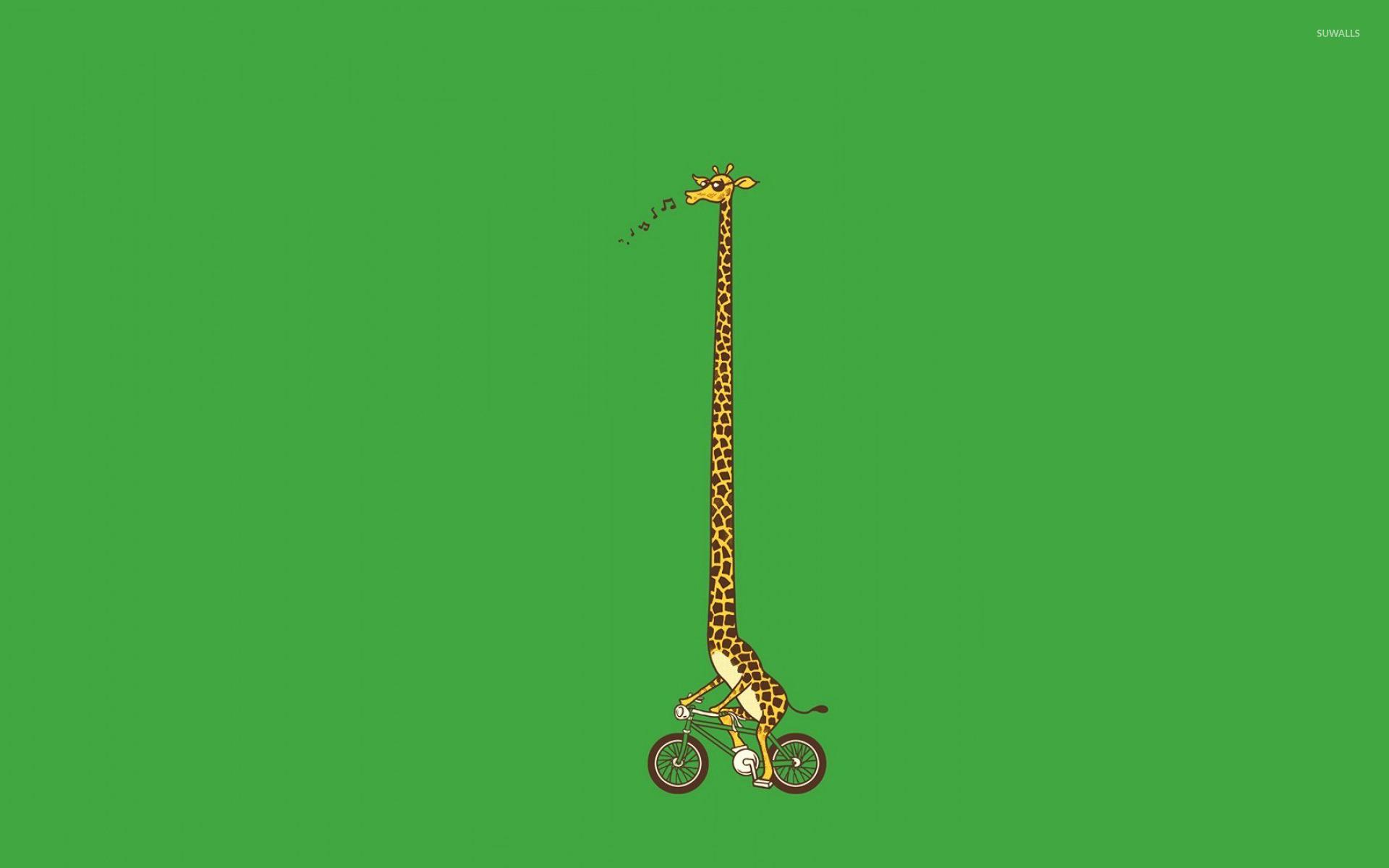 Biking Giraffe Wallpaper