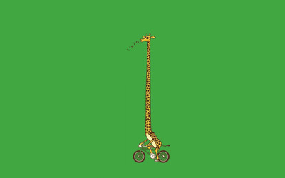 Biking giraffe wallpaper