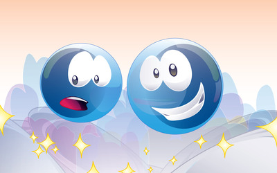 Blue emoticons wallpaper