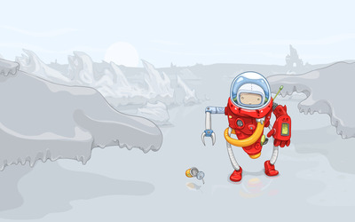 Boy in robot suit on snowy mountains wallpaper