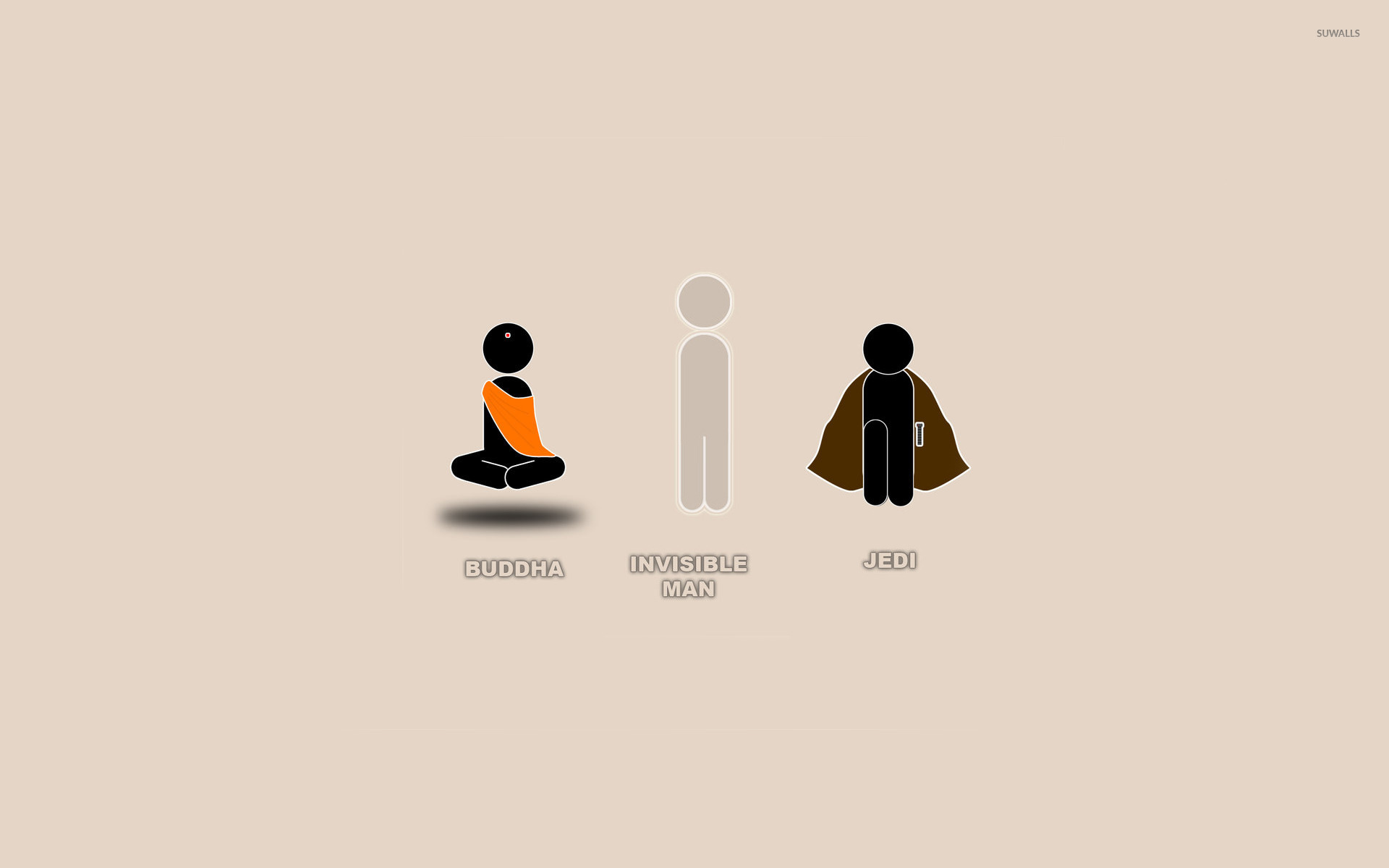 Buddha, Invisible Man and Jedi wallpaper - Funny ...
