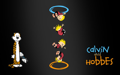 Calvin and Hobbes Portal crossover wallpaper