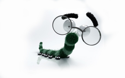 Caterpillar with glasses wallpaper