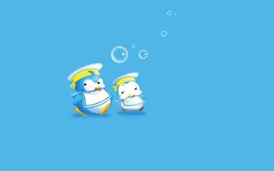 Chubby sailor penguins wallpaper