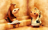 Cows in the sauna wallpaper 1920x1200 jpg
