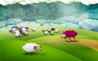 Crazy sheep on rollerskates wallpaper