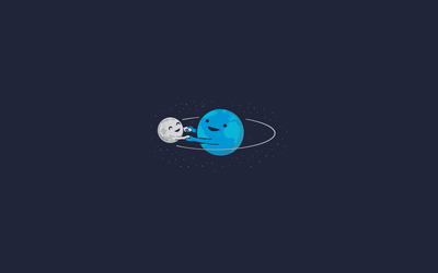 Earth and moon dancing wallpaper