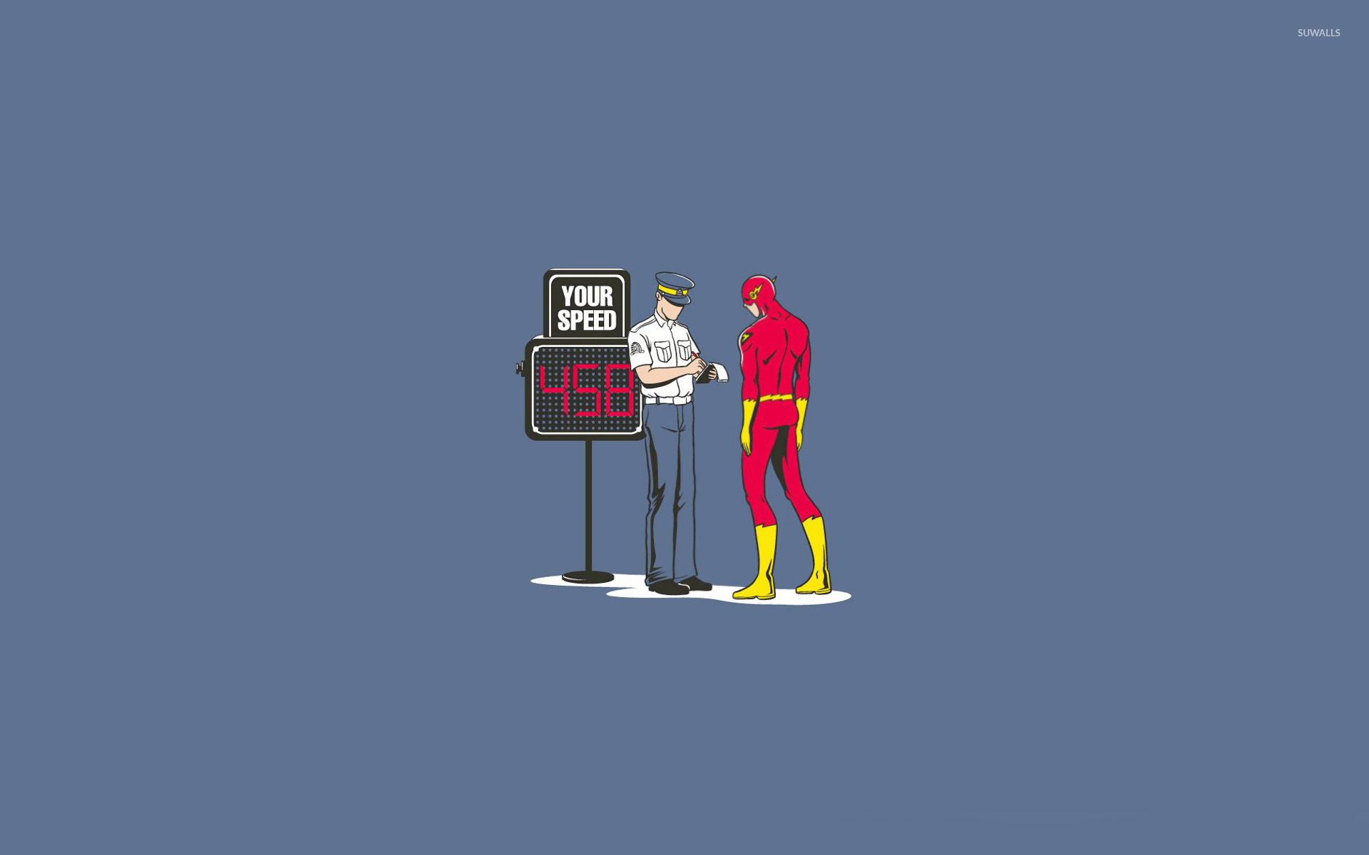 Flash getting a speeding ticket wallpaper - Funny wallpapers