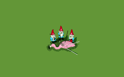 Garden Gnomes vs Flamingo wallpaper
