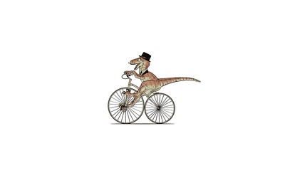 Gentleman dino riding a bike wallpaper