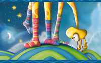 Giraffe with colored socks wallpaper 1920x1200 jpg