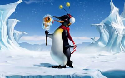 Happy penguin with fish ice cream wallpaper