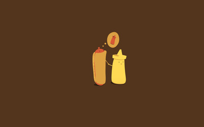 Hot dog dreaming of ketchup wallpaper