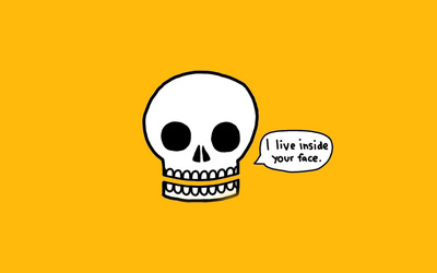 I live inside your face skull wallpaper