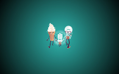 Ice cream and bulb family Wallpaper