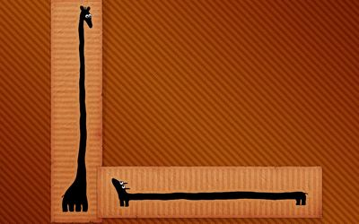 Long dog and tall giraffe Wallpaper