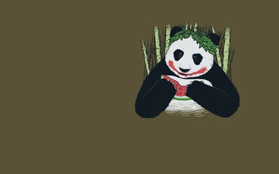 Panda eating watermelon wallpaper
