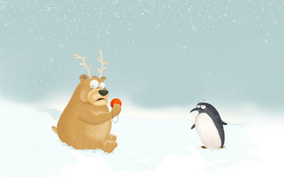 Penguin and bear dressed as Rudolph wallpaper