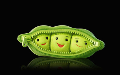 Plush peas in a pod wallpaper
