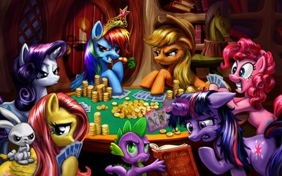 Ponies playing poker wallpaper