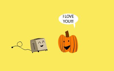 Pumpkin loves the toaster wallpaper