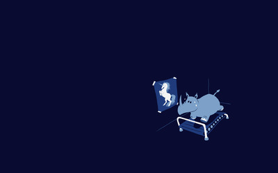 Rhino on treadmill wallpaper
