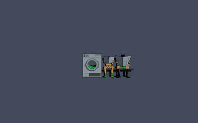 Robin and Batman waiting for the washing machine wallpaper