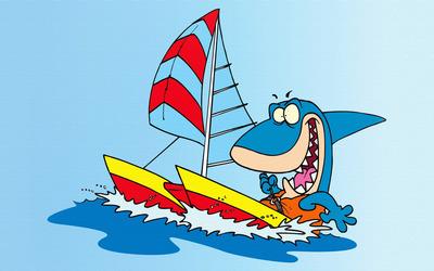 Sailing shark wallpaper