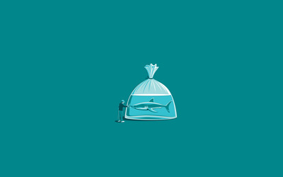 Shark in a plastic bag wallpaper