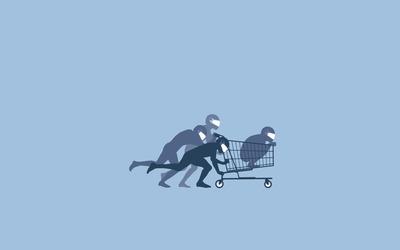 Shopping cart bobsled wallpaper
