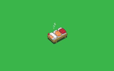 Sleeping sushi wallpaper