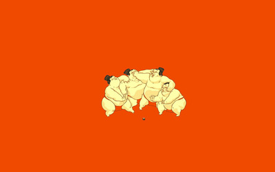 Sumo wrestlers fighting for sushi wallpaper