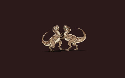 T-Rex cat fight wallpaper