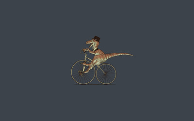 T-Rex on bicycle wallpaper