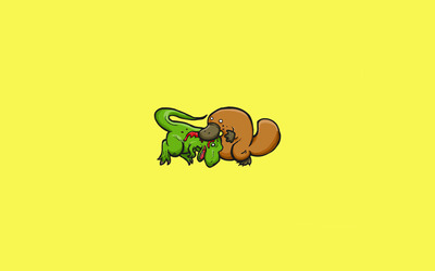T-Rex vs Platypus wallpaper